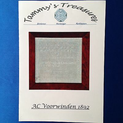 """AC Voorwinden 1892"" Vintage cross stitch sampler chart by Tammy's Treasures"