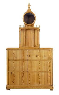 Rare Rustic Swedish Pine Clock Cupboard