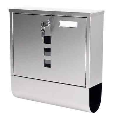 Lockable Stainless Steel Letterbox Mailbox Post Box Newspaper Holder Outdoor