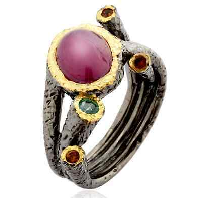 Ruby Ring in solid 925 silver artwork with Emeralds and Citrines- $229 appraisal