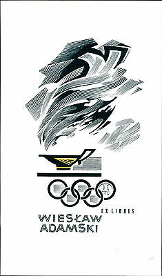 'Wiesław Adamski'  Olympic Rings Bookplate (JC.158)