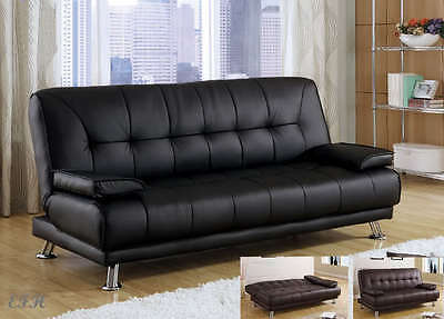 New Benson Black Or Brown Bycast Leather Futon Sofa Bed Lounger W Pillows