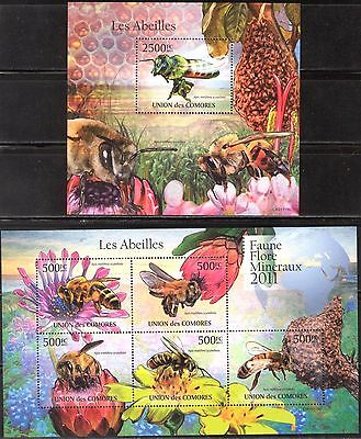 Comoros 2011 Insects Honey Bees sheet of 5 + S/S MNH**