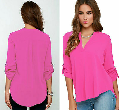 Ladies Rosy V Neck Polyester Top Long Sleeve Loose Casual T Shirt Blouse 8-16