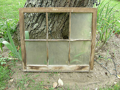 Vintage Farmhouse old wood window sash 6 pane picture frame 25 x 28 inches