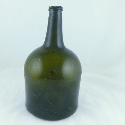 1730-1770 American Or English Magnum Mallet Black Glass Wine Bottle, Cracks Etc.