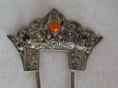 Antique Silver Byzantine Cannetille  Wirework Hair Comb W/ Glass Cabochons