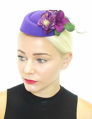 Purple Flower Pillbox Hat Fascinator Rockabilly Vtg Hair 1950s Races Wedding 464