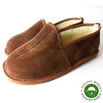 Men's Shoes, REAL LEATHER, Suede, SHEEP WOOL Slippers Brown