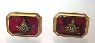 Vtg Pair Correct Masonic Ruby Red Glass Gold Fill Designer Cufflinks