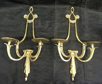 Vintage Antique Brass Pair Candle Sconces French Style Ribbons Hollywood Regency