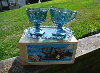 Vintage 3 Piece Blue Harvest Grape Pattern Indiana Carnival Glass - Mint In Box