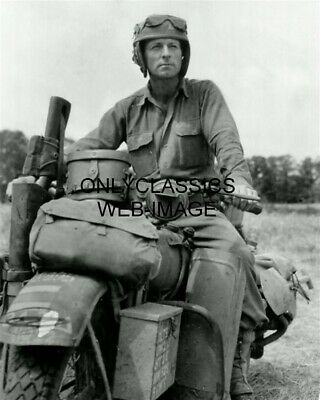 '44 Soldier 3Rd Army Division Of Normandy Harley Davidson Motorcycle Photo Wwii