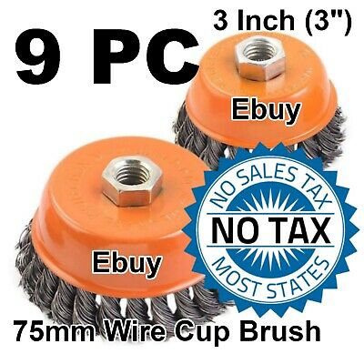 """9pcs alots 4/"""" Twist Wire Cup Brush 5//8/""""-11NC Thread Fits Most Angle grinders"""