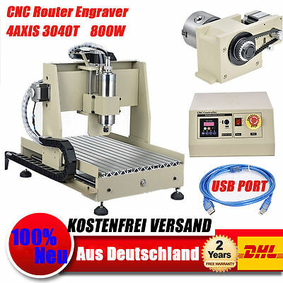 USB 4 Axis 3040 CNC Router Fräsmaschine Graviermaschine Engraving Machine  800W