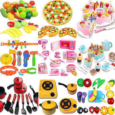 NT Kids Pretend Role Play Kitchen Home Fruit Vegetable Food Toy Cutting Set Gift