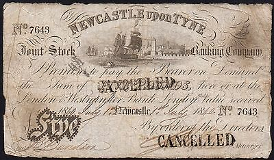 1840 NEWCASTLE UPON TYNE £5 BANKNOTE * 7643 * VG * Outing 1515b *