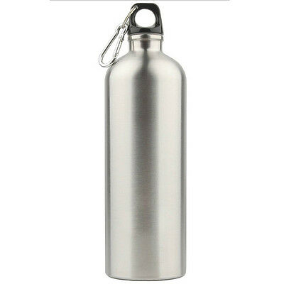 Silver Stainless Steel Cycling Sports Camping Travel Drink Water Bottle 1000ml