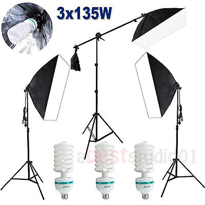 Photography Studio Softbox 2025W Continuous Soft Box Lighting Boom Arm Stand Kit