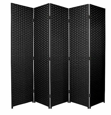 Black 5 Panel Solid Style Wicker Room Divider Hand Made Privacy Screen/Separator