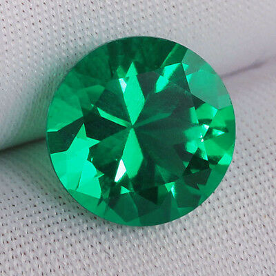 AAA Rated Nanocrystal Lab Created Emerald Round Faceted Gemstone 4mm to 18mm