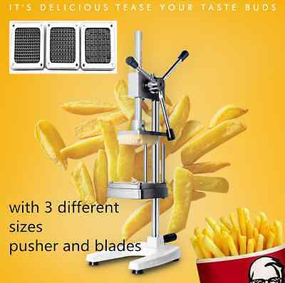 Stainless Potato Chipper French Fries Carrots Cutter Chopper 3 Blades Restaurant