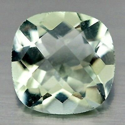 NATURAL CHARMING LIGHT GREEN AMETHYST GEMSTONES (10.2 x 8.1 mm) CUSHION CUT