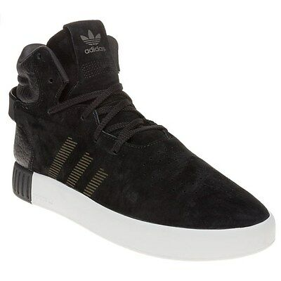 New Mens adidas Black Tubular Invader Suede Trainers Hi Top Lace Up