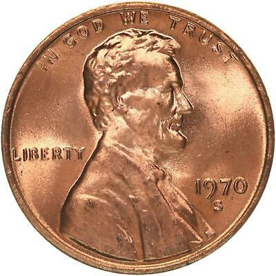 1970 S Lincoln Memorial Cent Large Date BU Penny US Coin