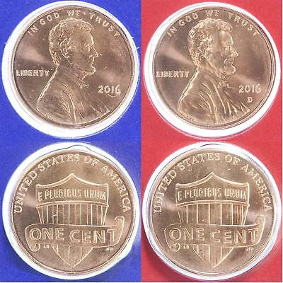 2016 P and D Lincoln Shield 2 Coin US Mint Set 1c Blister Pack Two 1c Cent Penny