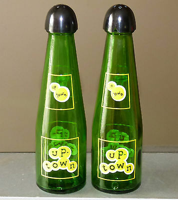 Vintage 50's Canadian UP-TOWN soda advertising salt & pepper shakers FREE SHIP!