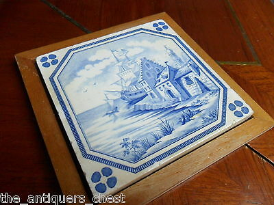 Old blue delft tile framed