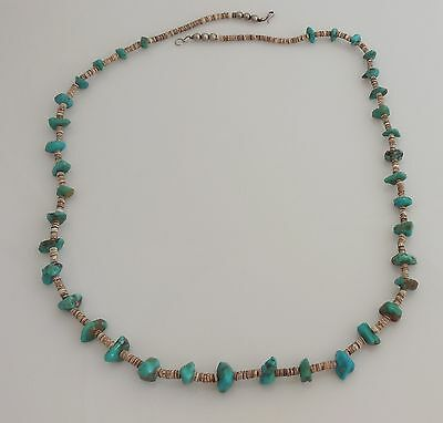 Vintage Puka Shell & Turquoise & Sterling Silver Necklace - 30 Inches