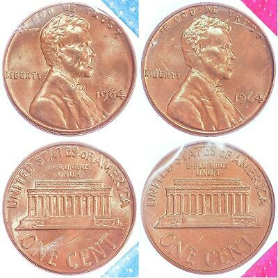 1964 P D Lincoln Memorial Cent BU US Mint Cello 2 Coin Penny Set