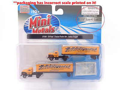 N 1954 Ford Yellow Freight Tractor / Trailer Set - Classic Metal Works #51164