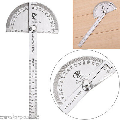 Stainless Steel Round Head Rotary Protractor Angle Ruler Gauge Measuring Tool C