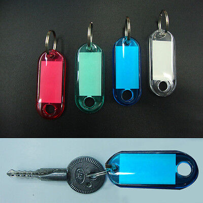 100 Pcs Colorful Clear Plastic Key Tags ID Label with Key Chain Tag Card Split R