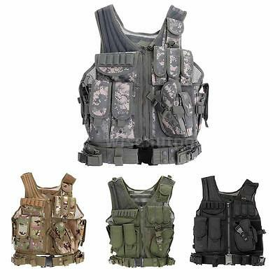 Military Tactical Army Polyester Airsoft War Game Hunting Vest Camp Hiking H2T5