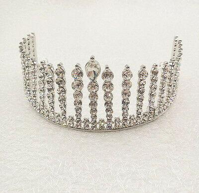 6cm High Adult Drip Full Crystal Wedding Bridal Party Pageant Prom Tiara Crown