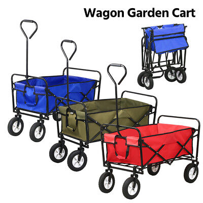Heavy Duty Folding Garden Trolley Cart Wagon 4 Wheel Pull Along Wheelbarrow XL
