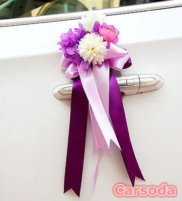 Purple Wedding Car Decor -  Botany Flowers Bow Ribbon Limousine Door Side Mirror