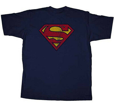 SUPERMAN - Vintage Logo On Navy T-shirt - NEW - SMALL ONLY