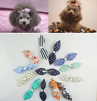 5 PCS Sweet Long Rabbit Ears Pet Dog Cat Puppy Grooming Hair Bow Hair Clips