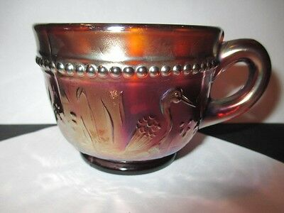 Dugan Beaded Stork & Rushes Root Beer Red Amethyst Carnival Glass Punch Cup