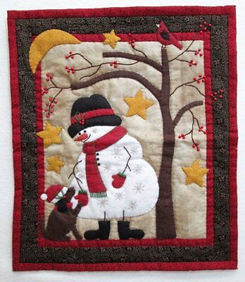 Frosty & Friend ~ Applique Quilt Pattern ~ Snowman Christmas Mini Wall Hanging