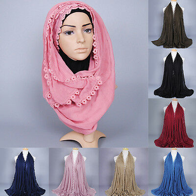 Women Solid Cotton Soft Long Wide Hijab Pashmina Scarf Scarves Wrap Stole Shawl
