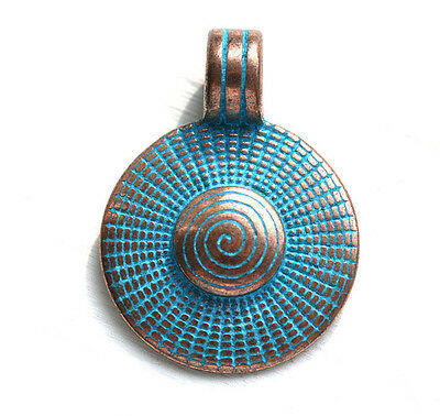 1pc Spiral Round Disk Pendant Bead Circle Blue Patina on Copper 23mm F473