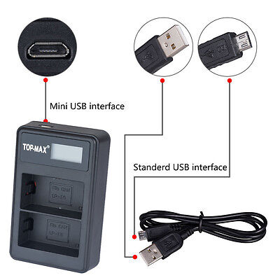 USB Dual Battery Charger For Canon LP-E6 LPE6 EOS 60D 7D 5D Mark II