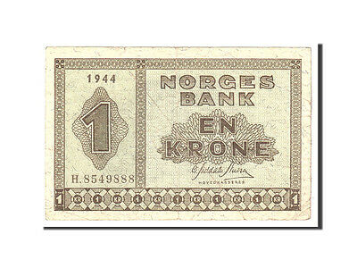 [#115400] Norwegen, 1 Krone, 1944, KM:15a, Undated, VF(20-25)