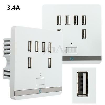 6 USB Port 3.4A Wall Charger Outlet Power Adapter Faceplate Socket Plate Panel